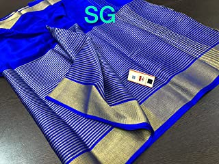 Fashion Vibes Pure Mysore Silk Wrinkle Crepe Saree with Zari Work