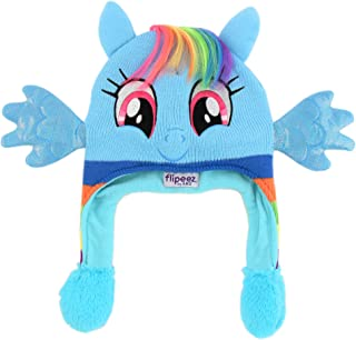 Hasbro Girls Little Pony Squeeze and Flap Fun Cold Weather Hat, blue/rainbow, Age 4-7