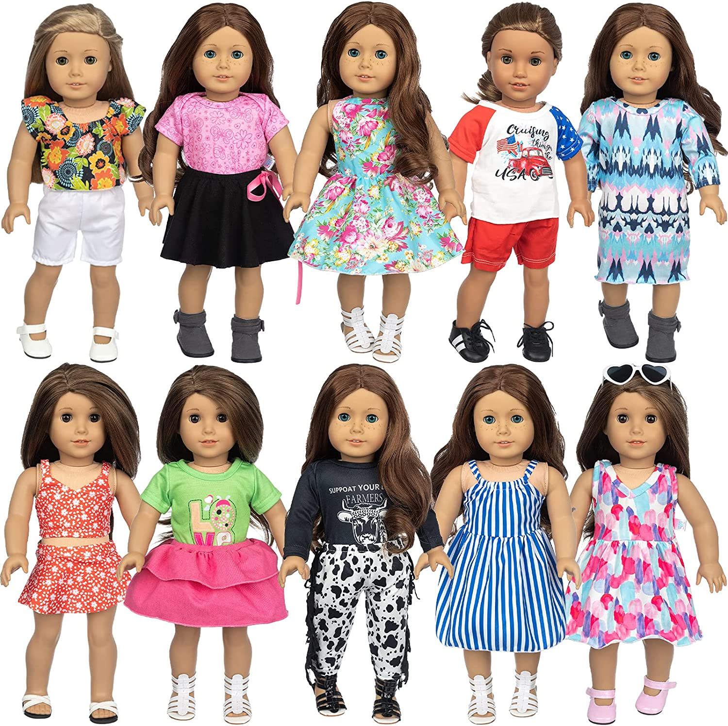 Nippon regular agency ZNTWEI 18 Inch American Doll Clothes Accessories Ame Max 74% OFF Set fit and