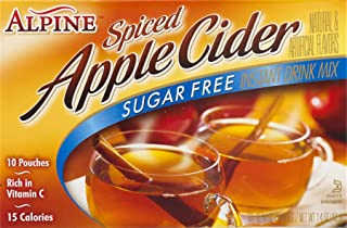 Alpine Spiced Apple Cider Sugar Free Instant Drink Mix, 10 Pouches (0.14 Oz) each) per Box, 1.4 Ounce, Pack of 12
