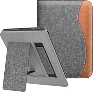 Dadanism Case Fits All-New Kindle 10th Generation 2019 Release / 8th Generation 2016, Slim Light Hands-Free Stand Cover with Hand Strap, Not Fit Kindle Paperwhite –Denim Gray & Brown (Auto Sleep/Wake)