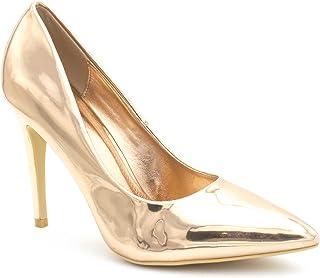 b110a71f7dc8d6 Escarpin Femme Vernis - Chaussure Couleur Unie Talon Fin – Haut Talon  Aiguille Sexy 11CM Brillant