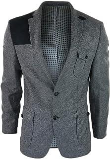 Men's Grey Wool Tweed Hunting Herringbone Blazer with Elbow Patches