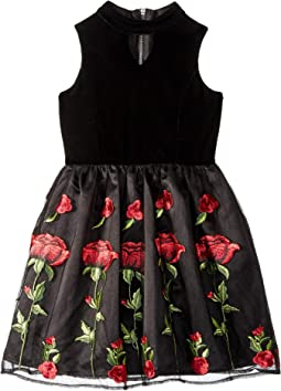 Sleeveless Stretch Velvet Dress with Embriodered Lace Skirt (Big Kids)