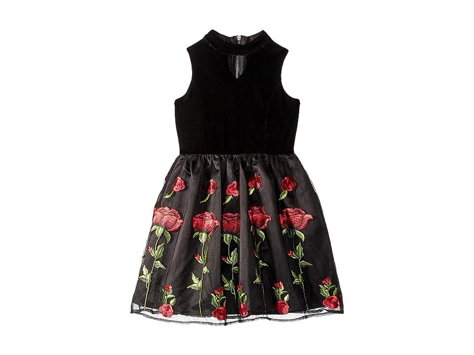 d107ef25ab Us Angels Sleeveless Stretch Velvet Dress with Embriodered Lace Skirt (Big  Kids) (Black/Red) Girl's Dress