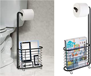 InterDesign Forma Free Standing Toilet Paper Holder and Newspaper and Magazine Rack for Bathroom - Matte Black