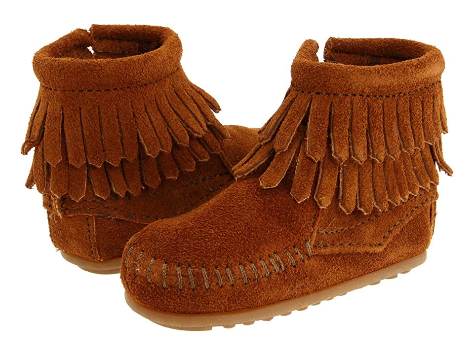 Minnetonka Kids Double Fringe Side Zip Bootie (Infant/Toddler) (Brown Suede) Girls Shoes