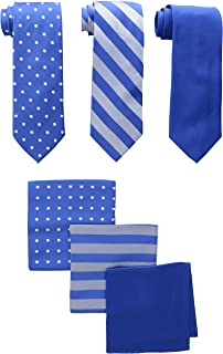 Men's 3 Pack Satin Neckties Solid Striped Dots with Pocket Squares