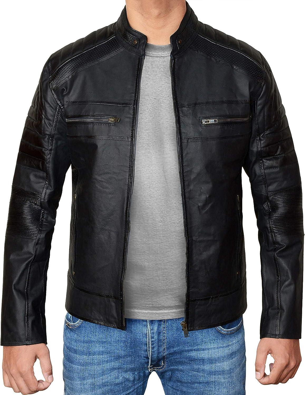 Mens Leather Jacket Real Lambskin Vintage leather jacket for men