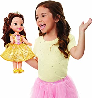 "Disney Princess Belle Doll Beauty and the Beast Sing & Shimmer Toddler Doll, Princess Belle Sings ""Something There"" when you press her Jeweled Necklace [Amazon Exclusive]"