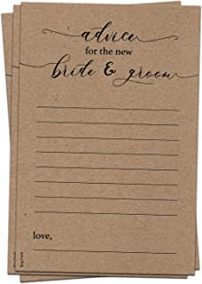 50 Kraft Rustic Wedding Advice Cards for Advice & Well Wishes for the Happy Couple - Bridal Shower Wedding Shower Games Note Card Marriage Best Words of Wisdom