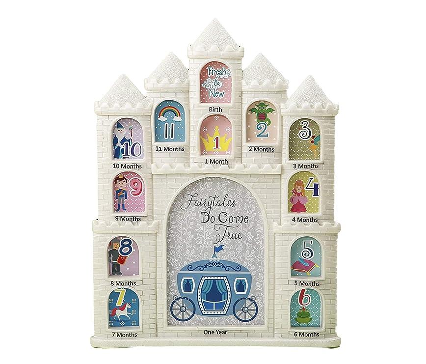 刺します仲介者致命的Mozlly White Fairytales Do Come True Castle Baby First Year Collage Photo Frame - Glitter Finish - 30cm x 24cm - Nursery Decor - Item 105030