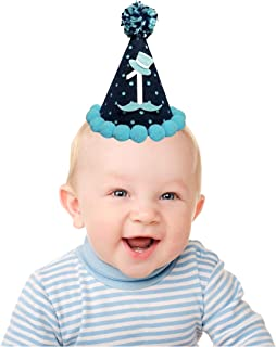 Little Gentleman 1st Happy Birthday Hat-Mustache Baby Shower Decorations for Kids-Boy Girl Cake Smash Outfit- Little Man First Birthday Party Supplies Blue- Gentleman Themed Baby Shower decorations