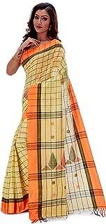SareesofBengal Women's Khadi Cotton Jamdani Dhakai Saree Checkered Tangail Handloom Yellow