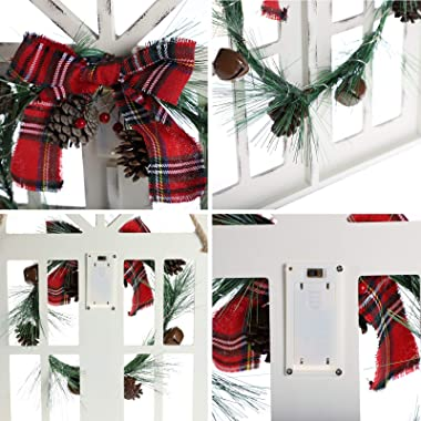 MorTime LED Christmas Wooden Window Wreath for Christmas Winter Home Decoration