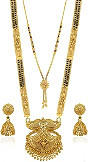 Brado Jewellery Traditional Necklace Pendant Gold Plated Hand Meena 30inch Long and 18inch short 2 Inch Earring Combo Of 2...