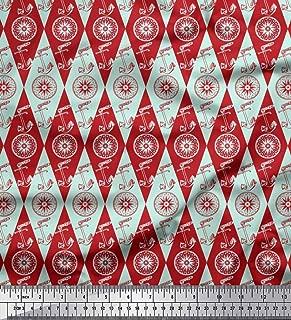 Soimoi Green Cotton Poplin Fabric Direction Compass & Anchor Hook Nautical Printed Fabric 1 Yard 56 Inch Wide
