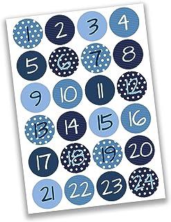 Papierdrachen 24 naklejki do kalendarza adwentowego - niebieskie cyfry nr 02 - naklejki 4 cm - do majsterkowania i dekorow...