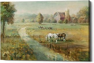 """لوحة فنية جدارية قماشية بعنوان """"مزرعة هادئة"""" من تصميم Danhui Nai من قماش الكتان مقاس 30.48 سم × 40.64 سم، باللون الأخضر"""