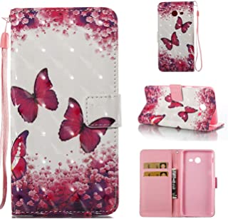 Galaxy J7 V Case/Galaxy J7 Perx Case/Galaxy J7 Sky Pro / J7 Prime/Galaxy Halo / J7 2017 Case,[Shock Absorbent] PU Leather Kickstand Wallet Cover Durable Flip Case