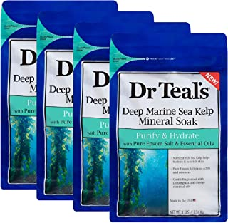 Sponsored Ad - Dr Teal's Epsom Salt - Sea Kelp Sea Mineral Soak, Purify & Hydrate, 3 lb each bag (Pack of 4)