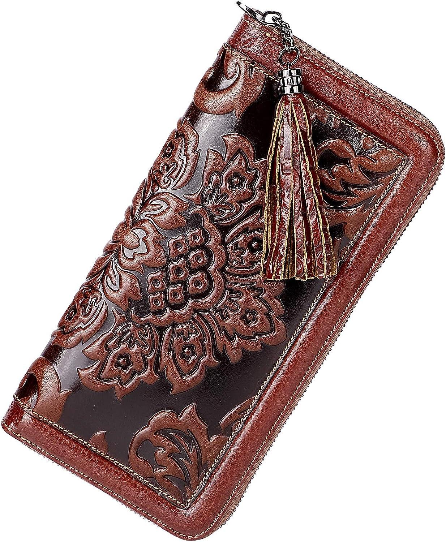 PIJUSHI Leather Wallets For Women Floral Wristlet Wallet Card Holder Purse