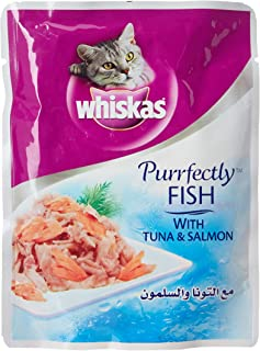 Whiskas Purrfectly Tuna & Salmon Wet Cat Food Pouches 85g x 24 Pieces