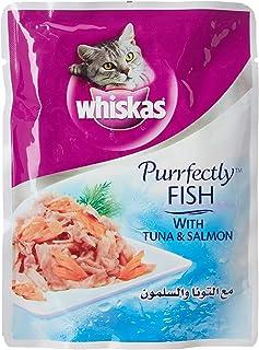 اكياس طعام رطب للقطط مع التونا والسلمون من ويسكاس 85 غرام × 24 قطعة