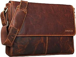 """STILORD Oskar"""" Umhängetasche Laptoptasche 15 Zoll aus echtem Leder Messenger Bag Business Vintage Look, Farbe:Kara - Cognac"""