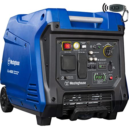 Westinghouse iGen4500 Super Quiet Portable Inverter Generator 3700 Rated & 4500 Peak Watts, Gas Powered, Electric Start, RV Ready, CARB Compliant