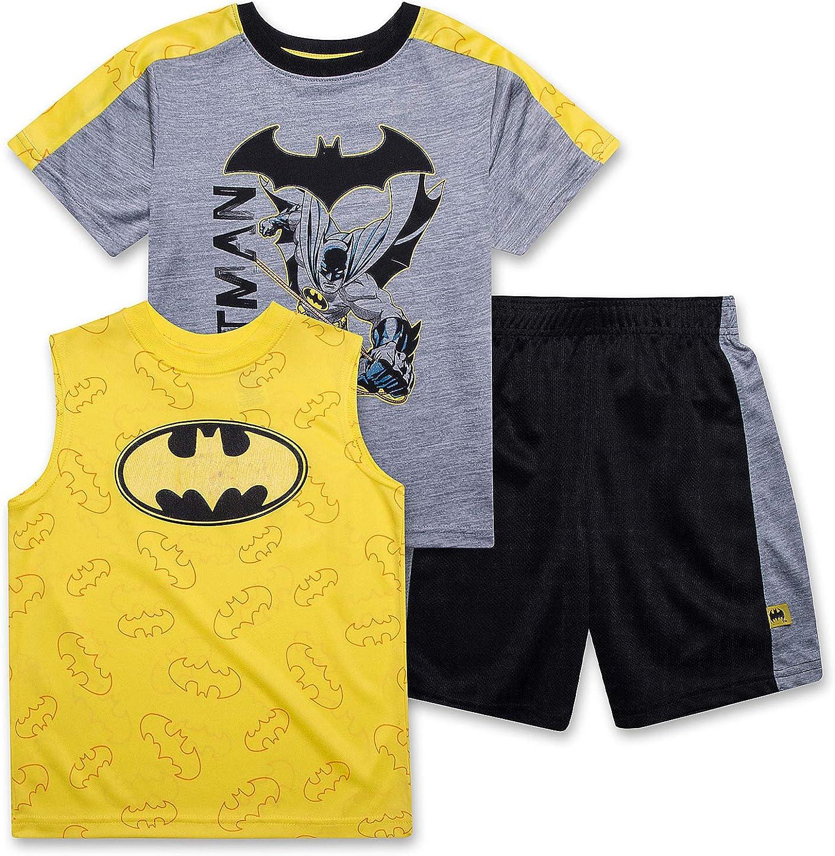 BATMAN T Shirt for Boys, Tank Top and Shorts 3 Piece Summer Activewear Bundle Shirt for Kids