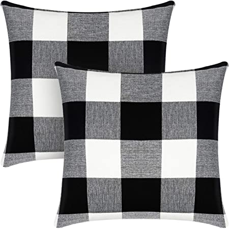 Syntus Set of 2 Buffalo Check Throw Pillow Covers Farmhouse Outdoor Plaid Square Pillow Cushion Case Black and White Cotton Linen for Home Easter Decor Car Bed Sofa, 18 x 18 inches