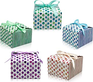 Gift Treat Boxes with Ribbons (20 pack) Thick 400gsm Card Decorative Gift Boxes with lids for Cookies, Graduations, Brides...