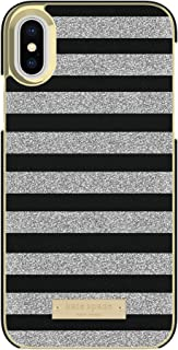 Kate Spade New York Phone Case | for Apple iPhone X and 2018 iPhone Xs | Protective Leather Wrap Phone Cases with Slim Design, Drop Protection - Glitter Stripe Black Saffiano/Silver Glitter