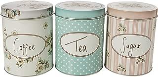 Katie Alice - Set Of Three Cottage Flower Large Coffee, Sugar & Tea Storage Tins