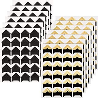 Hotop 312 Pieces Photo Corners Self Adhesive for DIY Scrapbook, Picture Album, Personal Journal, Dairy More (Gold and Black)