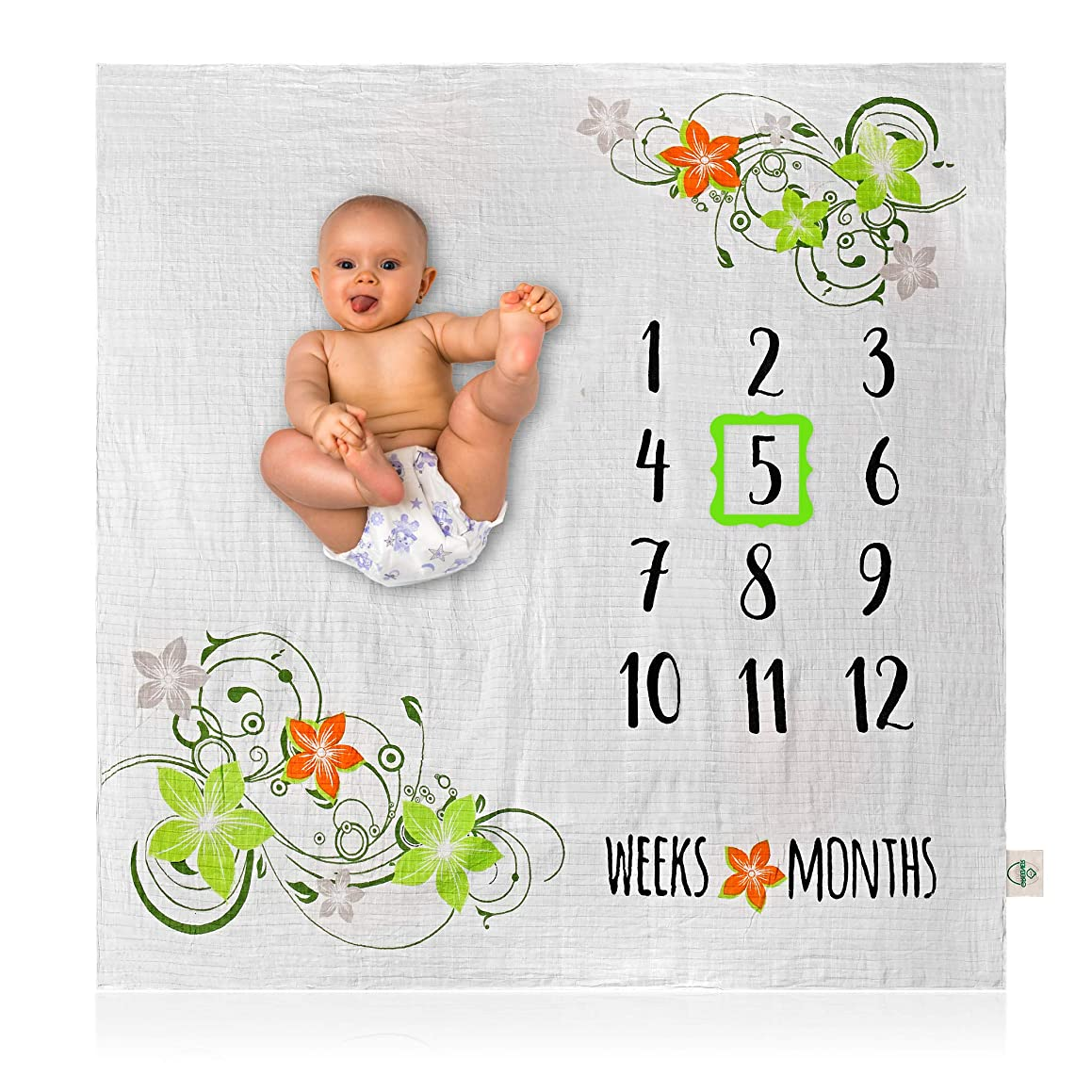 Organic Bamboo Baby Milestone Blanket - Photo Prop for Yearly, Monthly or Weekly Pictures, Girl or Boy, Bamboo Cotton Muslin Swaddle Month Blankets, Personalized Shower Gifts, Large 47