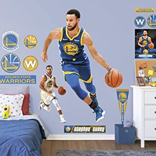 Fathead NBA Golden State Warriors Steph Curry Steph Curry- Officially Licensed Removable Wall Decal, Multicolor, Life-Size - 1900-00177-001