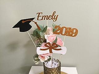 Graduation party decorations 2019, Graduation Centerpiece Sticks, Grad,Cap,Diploma, 2019, custom name centerpiece, graduation decor 2019, orange glitter Graduation table decor,black and orange