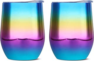 Rainbow 12 oz Insulated Wine Tumblers | Stainless Steel Cups with Lids (Set of 2) | Coffee Tea Whiskey Cocktails | Stemless Portable Shatterproof Travel Wine | Metal Sip Swig Outdoor Wine Glasses