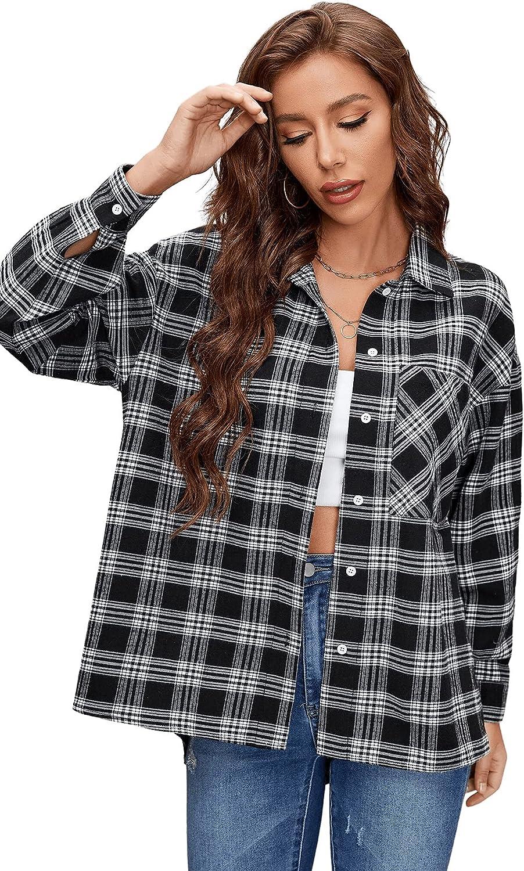Verdusa Women's Long Sleeve Plaid Patch Pocket Button Down Shirt Blouse