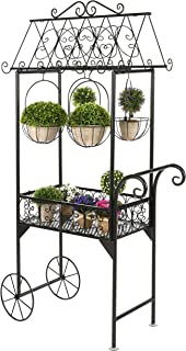 Large Black Metal Freestanding Scrollwork French Trolley Cart Plant Stand w/ 4 Hanging Flower Pot Baskets (Renewed)
