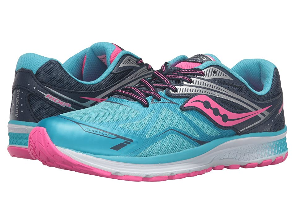 Saucony Kids Ride 9 (Little Kid/Big Kid) (Blue/Pink) Girls Shoes