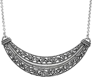 Paz Creations 925 Sterling Silver Floral Lace Design Statement Necklace