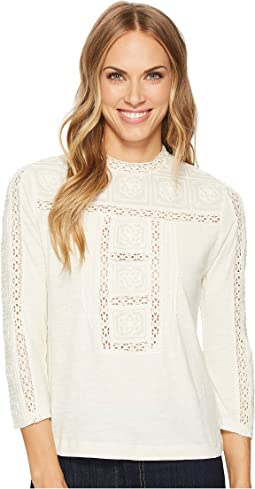 Lucky Brand - Embroidered Mock Neck Top