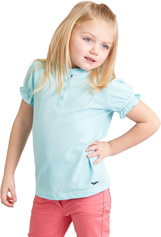 Dakomoda Girls' Ruffled Light Blue Polo Shirt - 100% Pima Cotton