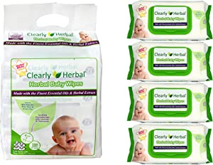 Clearly Herbal Amazon's Choice Gentle Baby Wipes Bundle Pack 288 Plant Based Wipes ( 4 Packs x 72 Count)