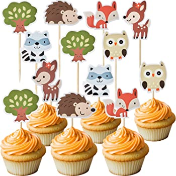 V-fox 48 Counts Woodland Party Cupcake Toppers Forest Animals Friends Cake Toppers Picks For Birthday Wedding Party Decor