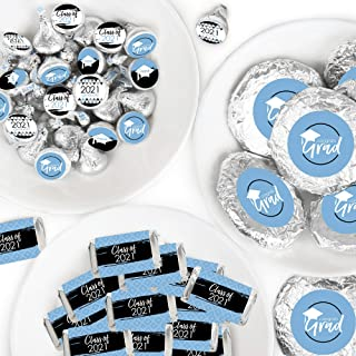 Big Dot of Happiness Light Blue Grad - Best is Yet to Come - Mini Candy Bar Wrappers, Round Candy Stickers and Circle Stic...