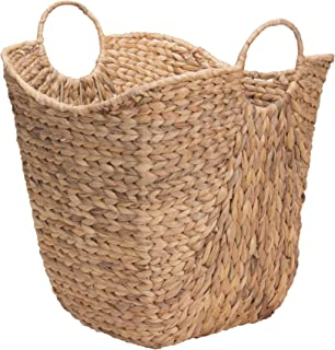 Household Essentials ML-4002 Tall Water Hyacinth Wicker Basket with Handles | Natural, Brown, Natural